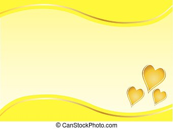 gold hearts with yellow border
