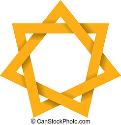Gold Heptagram 3D - Seven-pointed geometric star figure that...