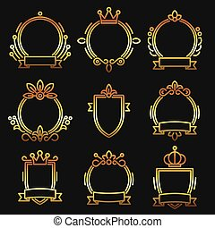 Gold Heraldic Baroque Frame Set on Black Background. Line Style Vector
