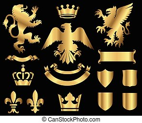 Gold Heraldry Ornaments - Gold heraldry ornaments isolated...