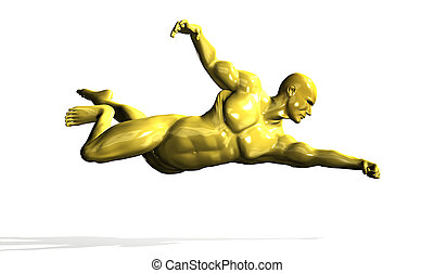 Gold hero man statue in flying pose. Isolated on white