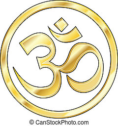 Gold Hindu Om vector - Hindu om icon in shiny gold
