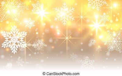 gold, hintergrund, weihnachten, schneeflocken