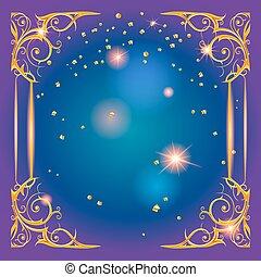 Gold holiday frame blue