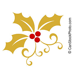 Gold holly berry - Christmas symbol. Vector illustration