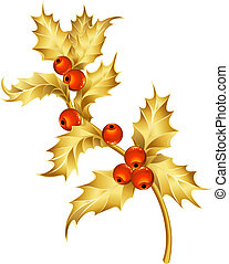 Gold holly - Vector illustration - christmas decor and...