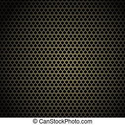 Gold honeycomb on black background