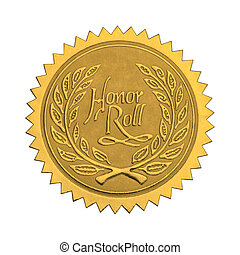 Gold Honor Seal - Gold Star Seal with Honor Roll Wreath...