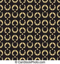 Gold horseshoe and stars seamless pattern