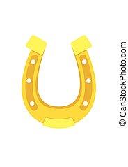 Gold Horseshoe Icon flat style isolated on background. Vector Illustration