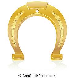 gold horseshoe talisman charm vector illustration isolated on white background