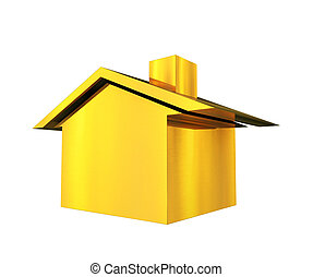 Gold house 3d illustration -icon