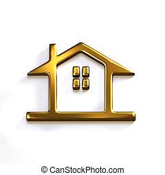 Gold House Realtor Prize. 3D Render Graphic Illustration - ...