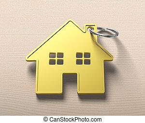 Gold house shape key ring