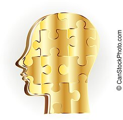 Gold human head puzzle  logo