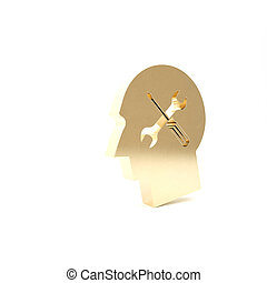 Gold Human head with with screwdriver and wrench icon isolated on white background. Artificial intelligence. Symbol work of brain. 3d illustration 3D render