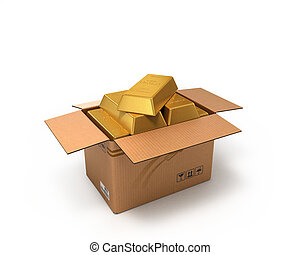 Gold in a cardboard box isolated on white background