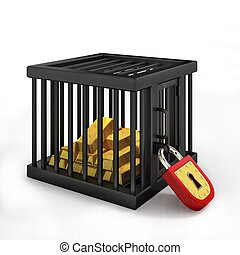Gold in cage