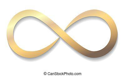 Gold Infinity symbol with shadow isolated on a white background. vector illustration