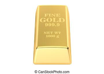 Gold ingot, 3D rendering