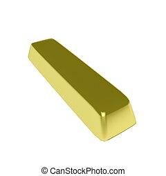 Gold Ingot - A lying gold 3d ingot, over white