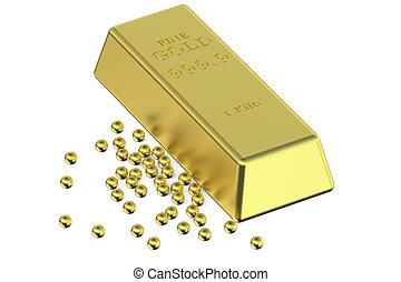 Gold ingot and granules