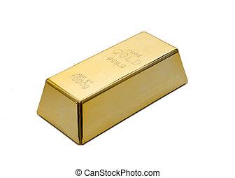 Gold ingot, bullion or bar isolated on white background