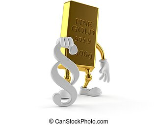 Gold ingot character with paragraph symbol