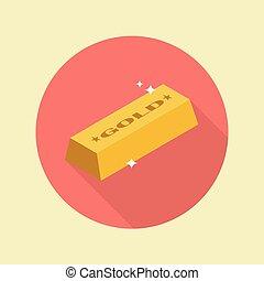 Gold ingot flat icon