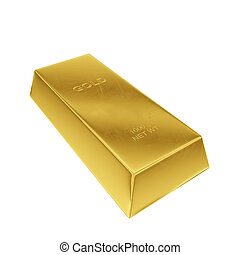 gold ingot isolated on a white background, 3D rendering