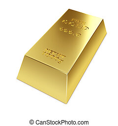 Gold ingot isolated on white background 3D illustration.