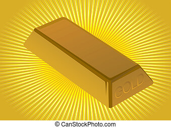 Gold ingot - Nugget of gold at an abstract background with...