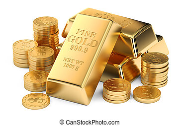 Gold ingots and coins, 3D rendering