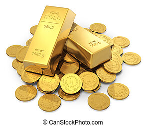 Gold ingots and coins - Creative business, finance, banking,...