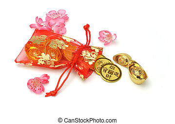 Gold ingots and coins in red sachet - Chinese new year gold ...