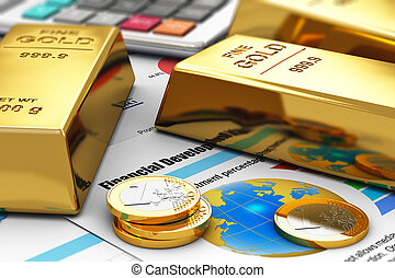 Gold ingots and coins on financial reports - Business...