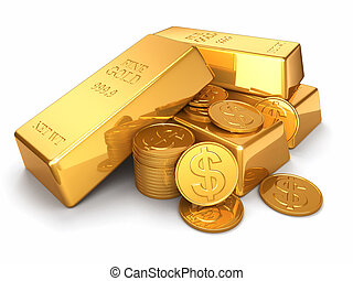 Gold ingots and coins on white isolated background. 3d