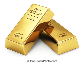 Gold ingots - Business financial banking concept: set of...