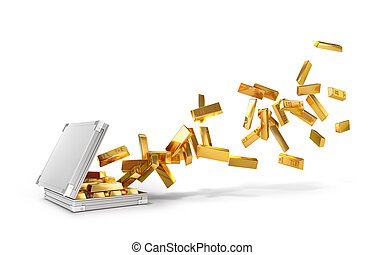 Gold ingots, flying out of a suitcase