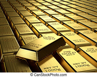 Gold ingots in a row. Wealth concept.