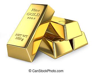 Gold ingots isolated