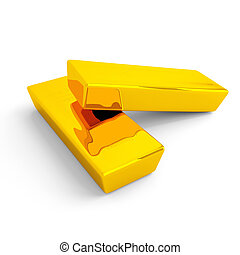 Gold ingots on a white background