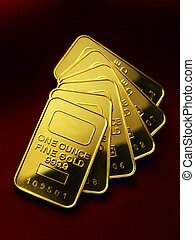 Gold ingots - Several one ounce gold ingots shot on rich...