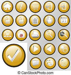 Gold Inset Control Button Icons