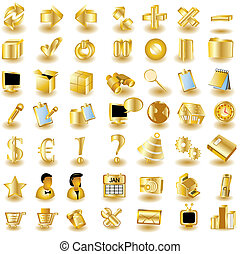 Huge collection of different interface icons in gold color, part 1