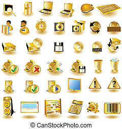 Huge collection of different interface icons in gold color, part 2