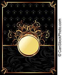 gold invitation frame or packing for elegant design -...