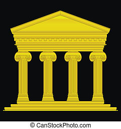 Gold ionic temple isolated on black background.