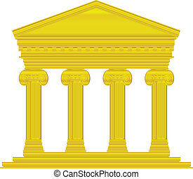 Gold ionic temple isolated on white background.
