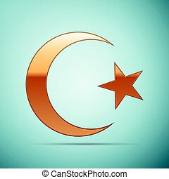 Gold Islam symbol icon on blue background. Vector...